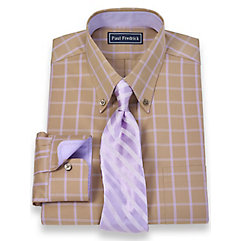 2-Ply Cotton Windowpane Button Down Collar Trim Fit Dress Shirt $40.00 AT vintagedancer.com