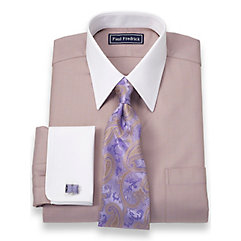 2-Ply Cotton Herringbone Straight Collar French Cuff Dress Shirt $40.00 AT vintagedancer.com