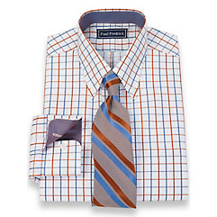 2-Ply Cotton Satin Windowpane Button Down Collar Dress Shirt $40.00 AT vintagedancer.com