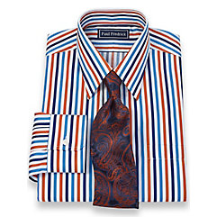 2-Ply Cotton Alternating Stripes Straight Collar Trim Fit Dress Shirt $30.00 AT vintagedancer.com