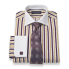 2-Ply Cotton Alternating Stripes Spread Collar French Cuff Dress Shirt $40.00 AT vintagedancer.com
