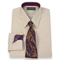 2-Ply Cotton Bengal Stripes Straight Collar Dress Shirt $40.00 AT vintagedancer.com