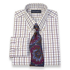 2-Ply Cotton Satin Windowpane Button Down Collar Trim Fit Dress Shirt $40.00 AT vintagedancer.com