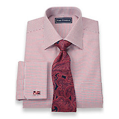 2-Ply Cotton Textured Grid Spread Collar French Cuff Trim Fit Dress Shirt $50.00 AT vintagedancer.com
