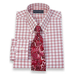 2-Ply Cotton Twill Windowpane Button Down Collar Dress Shirt $40.00 AT vintagedancer.com