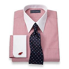 2-Ply Cotton Herringbone Straight Collar French Cuff Trim Fit Dress Shirt $50.00 AT vintagedancer.com