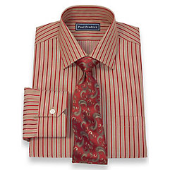 2-Ply Cotton Alternating Stripes Spread Collar Dress Shirt $40.00 AT vintagedancer.com