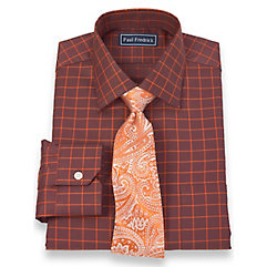 2-Ply Cotton Satin Rope Grid Spread Collar Trim Fit Dress Shirt $40.00 AT vintagedancer.com