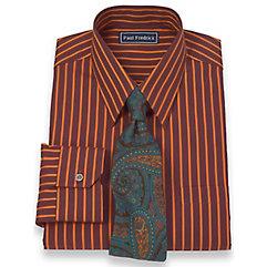 2-Ply Cotton Satin Stripes Straight Collar Trim Fit Dress Shirt $30.00 AT vintagedancer.com
