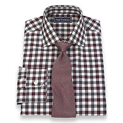 Italian Cotton Gingham Spread Collar Trim Fit Dress Shirt $60.00 AT vintagedancer.com