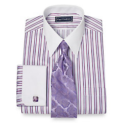 1920s Style Mens Shirts 2-Ply Cotton Framed Satin Stripe Straight Collar French Cuff Dress Shirt $50.00 AT vintagedancer.com