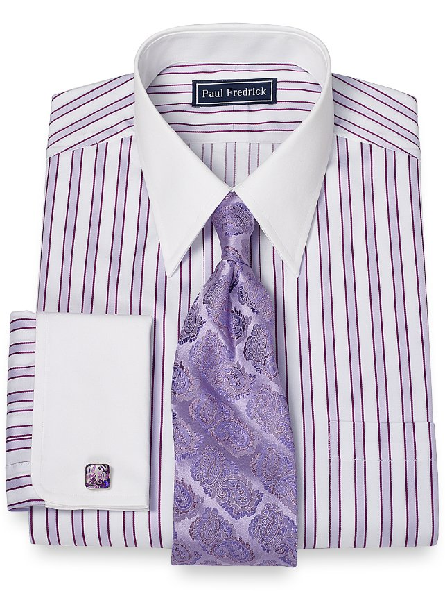 Slim fit 2 ply cotton framed stripe straight collar french Straight collar dress shirt