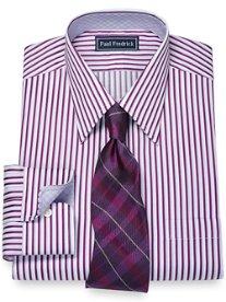 2-Ply Cotton Alternating Stripe Straight Collar Dress Shirt