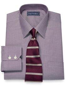 2-Ply Cotton Herringbone Spread Collar Dress Shirt