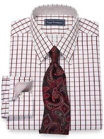 2-Ply Cotton Satin Windowpane Straight Collar Dress Shirt