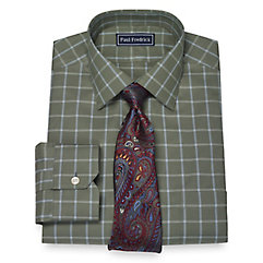 1950s Style Mens Shirts 2-Ply Cotton Windowpane Spread Collar Dress Shirt $40.00 AT vintagedancer.com