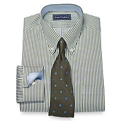 1920s Style Mens Shirts 2-Ply Cotton Bengal Stripe Button Down Collar Dress Shirt $40.00 AT vintagedancer.com