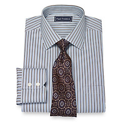 Italian Cotton Satin Stripe Spread Collar Dress Shirt $80.00 AT vintagedancer.com