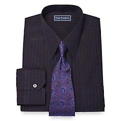 1930s Style Mens Shirts Slim Fit 100 Cotton Alternating Stripe Straight Collar Dress Shirt $30.00 AT vintagedancer.com