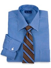 2-Ply Cotton Textured Check Spread Collar Dress Shirt