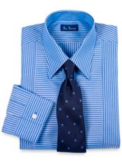 2-ply Cotton Stripe Straight Collar Trim Fit Dress Shirt