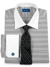 2-ply Cotton Multi-Stripe Windsor Collar French Cuff Dress Shirt