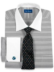 2-ply Cotton Multi-Stripe Windsor Collar French Cuff Trim Fit Dress Shirt