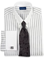 2-ply Cotton Satin Stripe Eyelet Collar French Cuff Trim Fit Dress Shirt