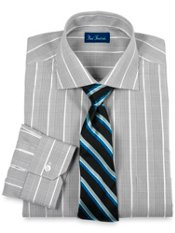 2-ply Cotton Glen Plaid Cutaway Collar Trim Fit Dress Shirt