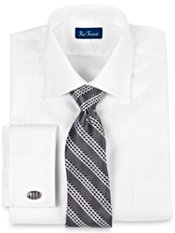2-ply Cotton Satin Grid Windsor Collar French Cuff Trim Fit Dress Shirt