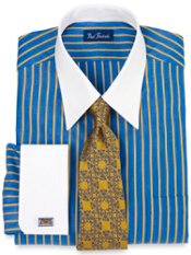 2-ply Cotton Multi-Stripe Straight Collar French Cuff Trim Fit Dress Shirt