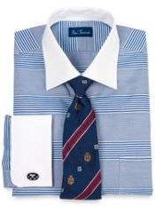 Premium Cotton Horizontal Stripe Windsor Collar French Cuff Trim Fit Dress Shirt