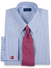 Premium Cotton Stripe Euro Straight Collar French Cuff Trim Fit Dress Shirt