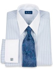 Premium Cotton Shadow Stripe Straight Collar French Cuff Dress Shirt