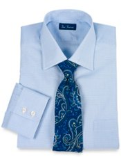 Premium Cotton Mini Check Windsor Collar Dress Shirt
