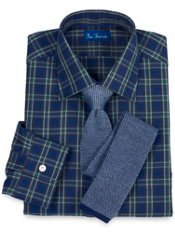 2-ply Cotton Tartan Windsor Collar Trim Fit Dress Shirt