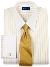 Pinpoint Oxford Twin Stripe Straight Collar French Cuff Dress Shirt