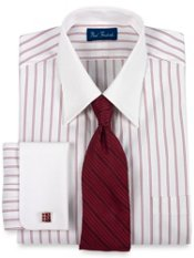 Pinpoint Oxford Twin Stripe Straight Collar French Cuff Trim Fit Dress Shirt