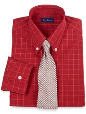 Pinpoint Oxford Windowpane Buttondown Collar Dress Shirt