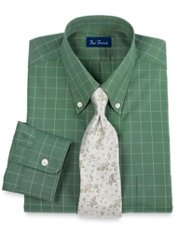 Pinpoint Oxford Windowpane Buttondown Collar Trim Fit Dress Shirt