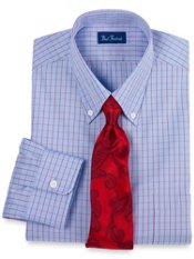 Pinpoint Oxford Two-Color Grid Buttondown Collar Trim Fit Dress Shirt