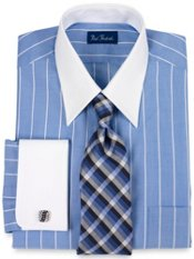 End-on-End Stripe Straight Collar French Cuff Trim Fit Dress Shirt