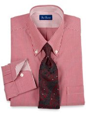 Pinpoint Oxford Fineline Stripe Buttondown Collar Trim Fit Dress Shirt