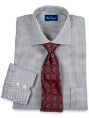 2-ply Cotton Houndstooth Pattern Cutaway Collar Trim Fit Dress Shirt