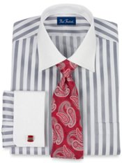 2-ply Cotton Bold Satin Stripe Windsor Collar French Cuff Trim Fit Dress Shirt