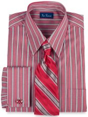2-ply Cotton Satin Stripe Euro Straight Collar French Cuff Dress Shirt