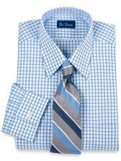 100% Cotton Bold Grid Straight Collar Dress Shirt