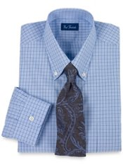 2-ply Cotton Shadow Grid Buttondown Collar Dress Shirt