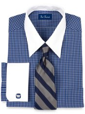100% Cotton Mini-Check Straight Collar French Cuff Dress Shirt