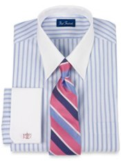 100% Cotton Twin Stripe Straight Collar French Cuff Dress Shirt